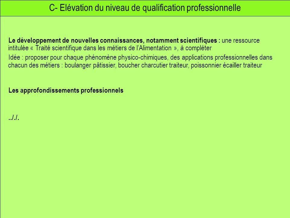 C- Elévation du niveau de qualification professionnelle