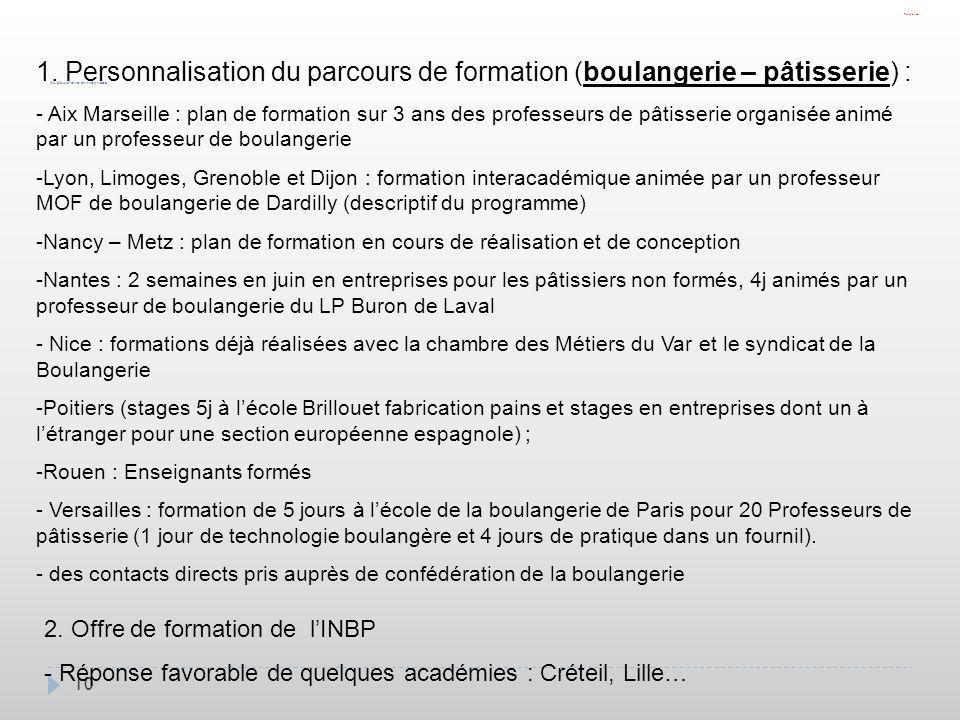 Formation1. Personnalisation du parcours de formation (boulangerie – pâtisserie) :