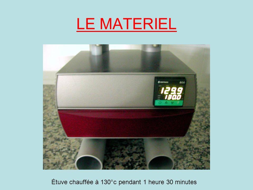 LE MATERIEL Étuve chauffée à 130°c pendant 1 heure 30 minutes