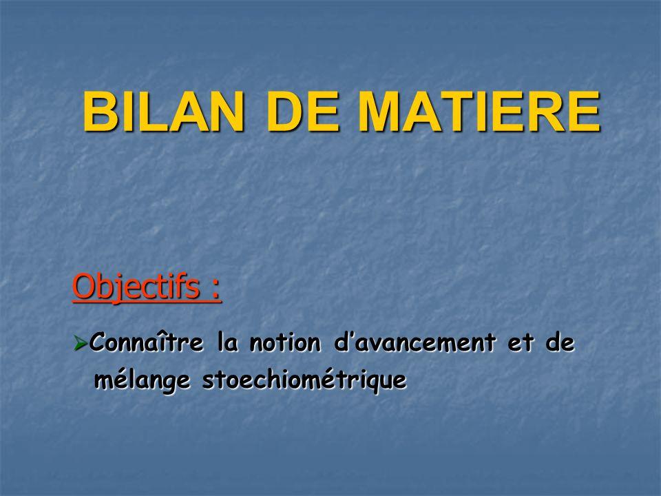 BILAN DE MATIERE Objectifs : mélange stoechiométrique