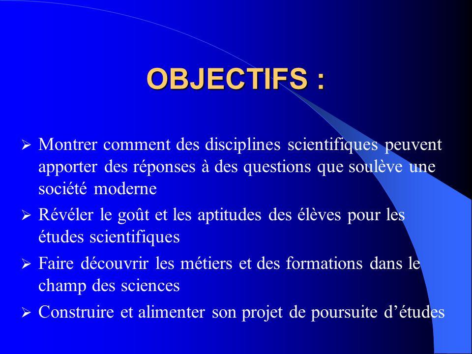 OBJECTIFS : Montrer comment des disciplines scientifiques peuvent apporter des réponses à des questions que soulève une société moderne.