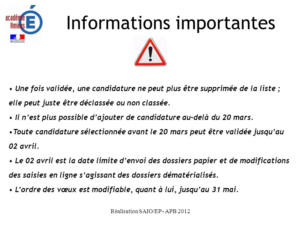 Informations importantes