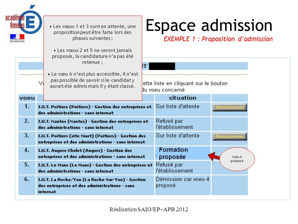 Espace admission EXEMPLE 1 : Proposition d'admission