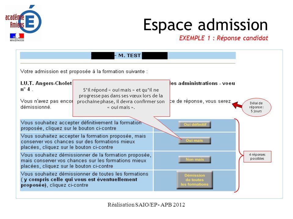 Espace admission EXEMPLE 1 : Réponse candidat