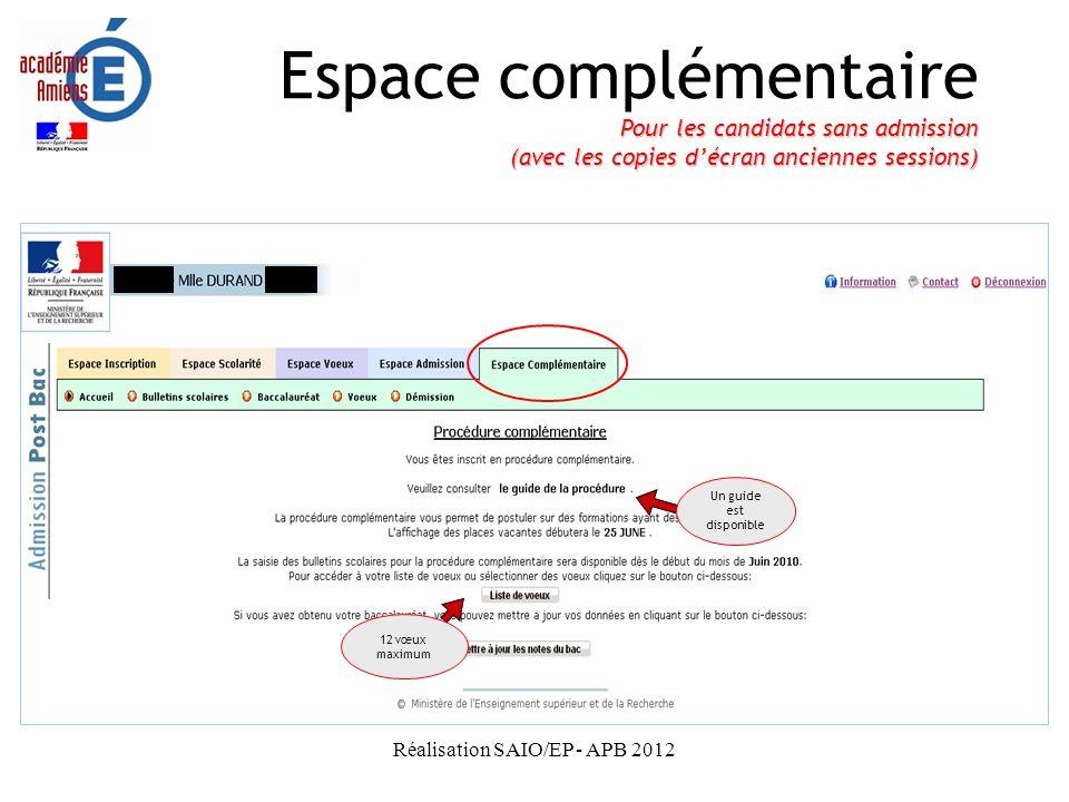 Espace complémentaire Pour les candidats sans admission (avec les copies d'écran anciennes sessions)