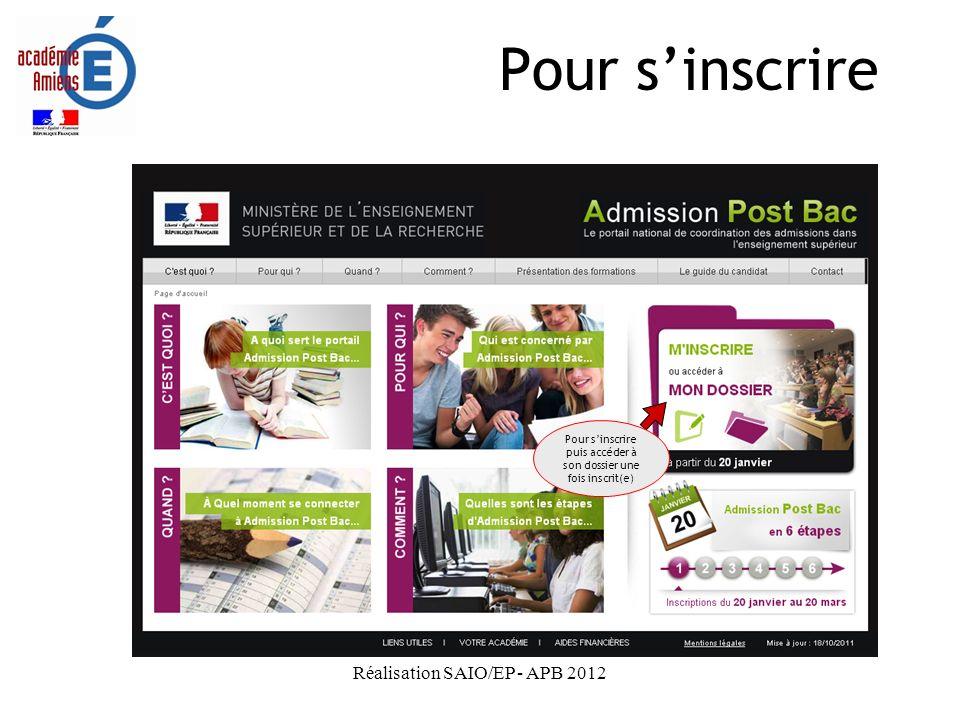 Pour s'inscrire Réalisation SAIO/EP - APB 2012