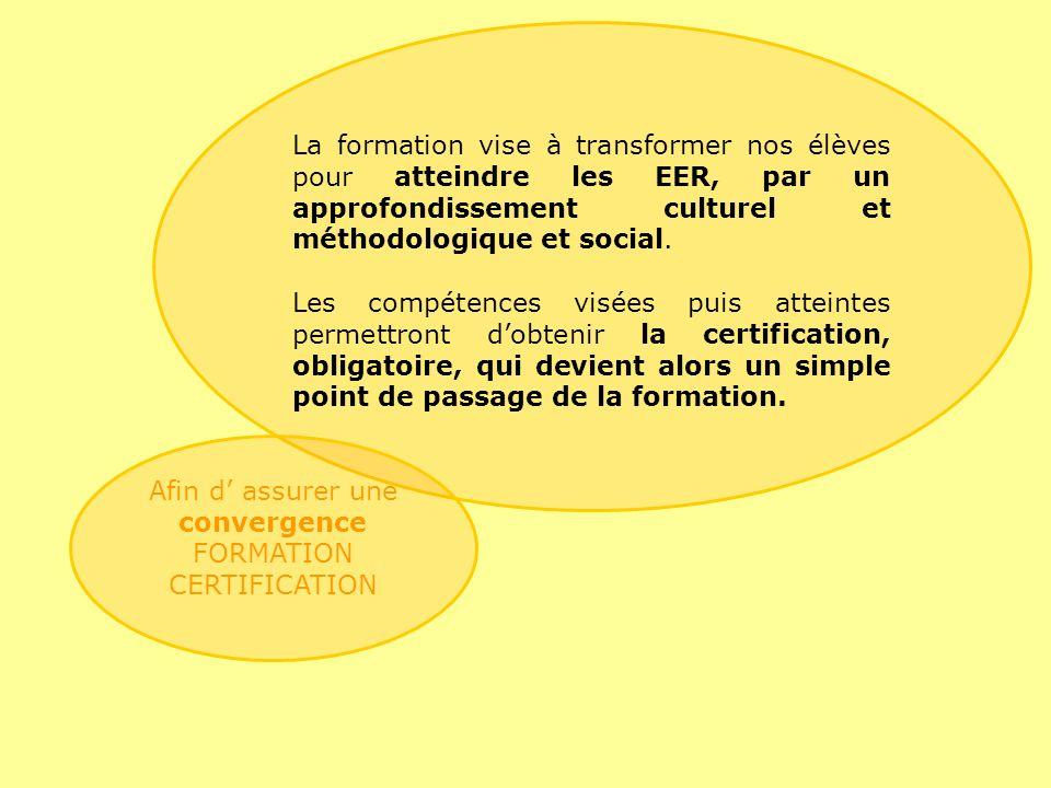 Afin d' assurer une convergence FORMATION CERTIFICATION