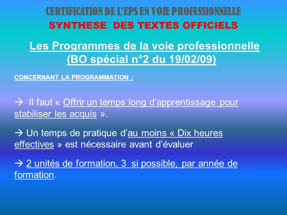 CERTIFICATION DE L'EPS EN VOIE PROFESSIONNELLE