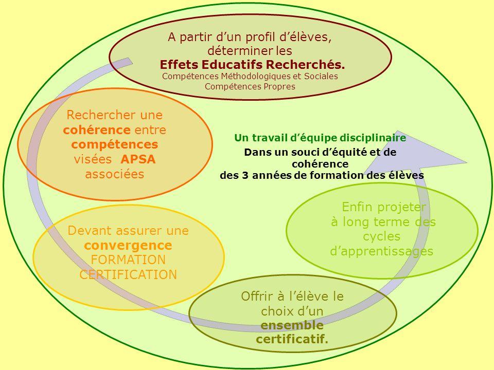 Rechercher une cohérence entre compétences visées APSA associées