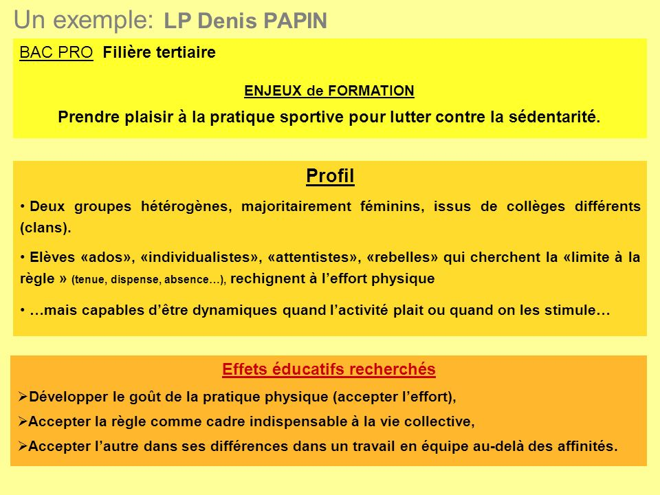 Un exemple: LP Denis PAPIN