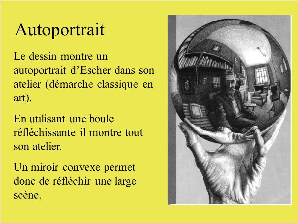 Autoportrait Le dessin montre un autoportrait d'Escher dans son atelier (démarche classique en art).