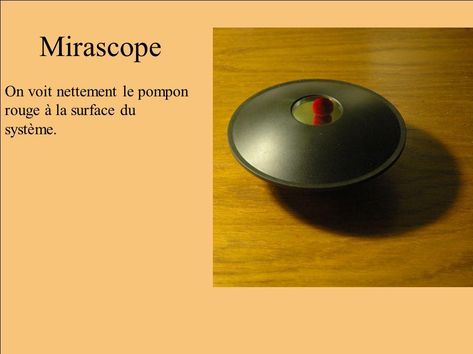 Mirascope On voit nettement le pompon rouge à la surface du système.