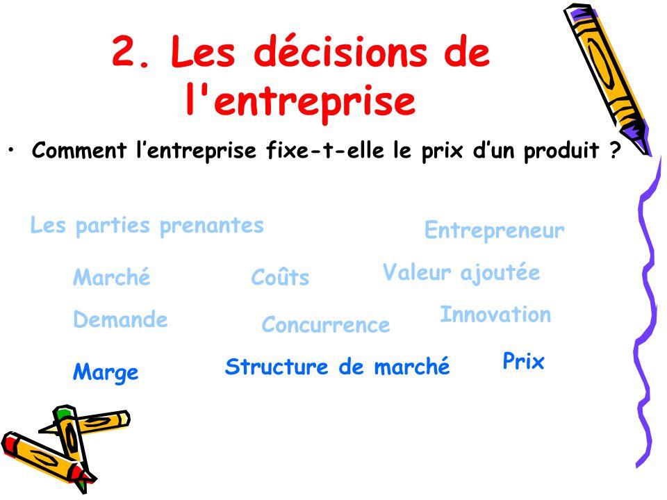 2. Les décisions de l entreprise