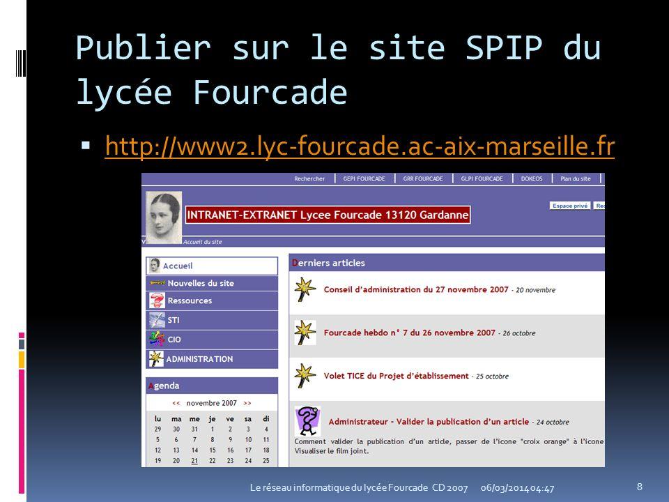 Publier sur le site SPIP du lycée Fourcade
