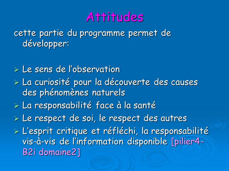 Attitudes cette partie du programme permet de développer: