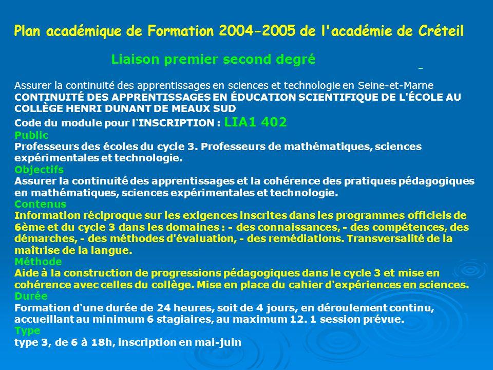 Plan académique de Formation 2004-2005 de l académie de Créteil
