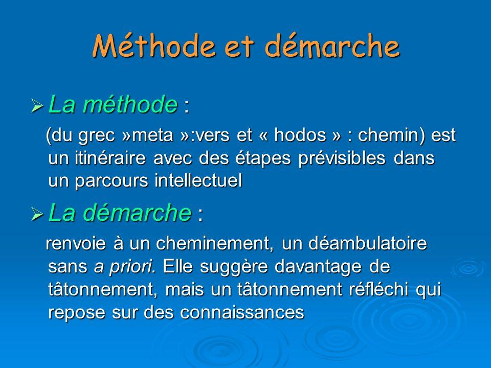 Méthode et démarche La méthode : La démarche :