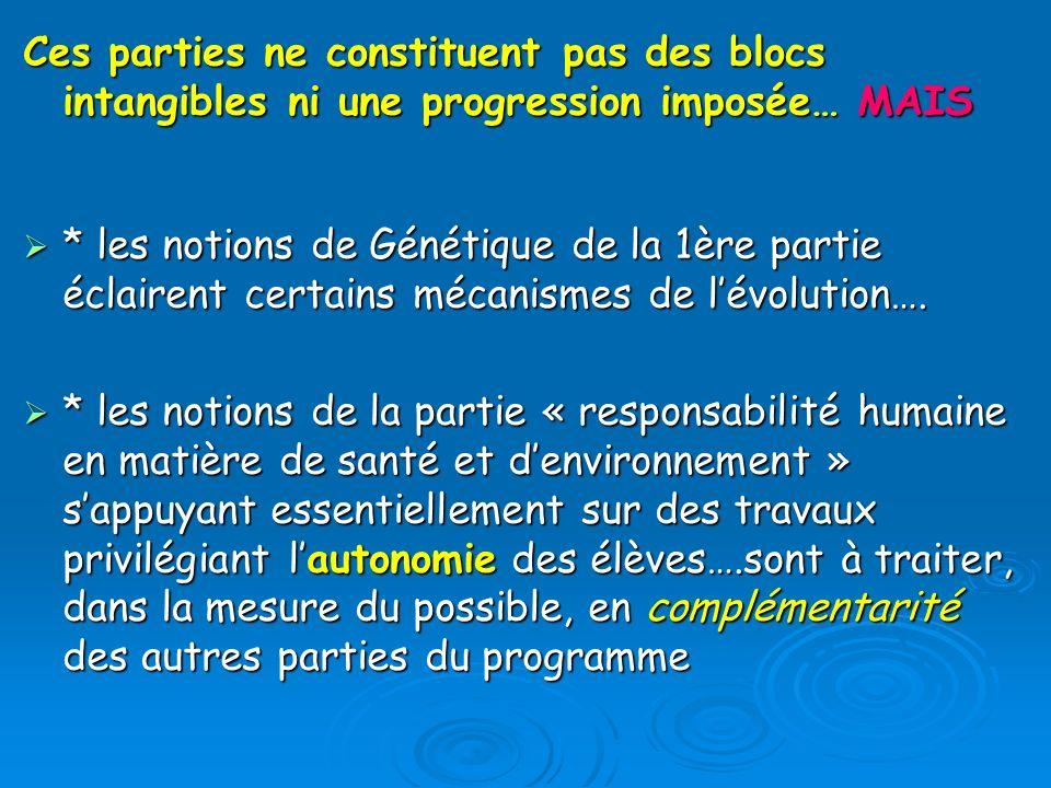 Ces parties ne constituent pas des blocs intangibles ni une progression imposée… MAIS
