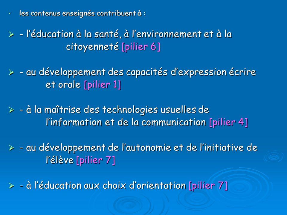 - l'éducation à la santé, à l'environnement et à la