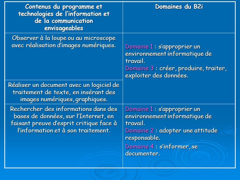 Contenus du programme et technologies de l'information et de la communication envisageables