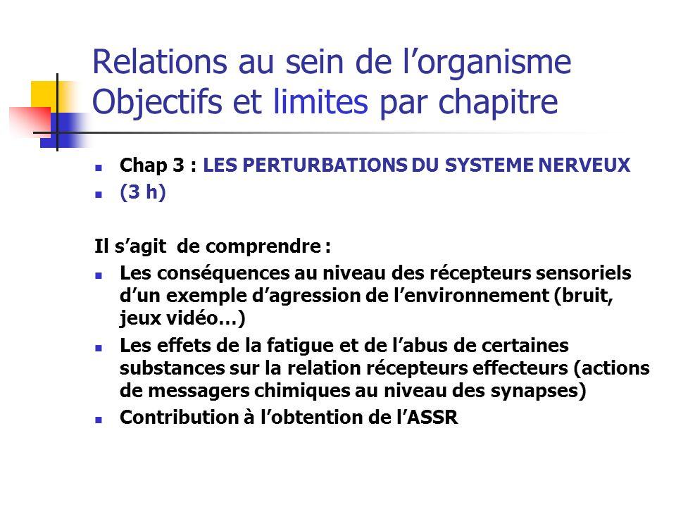 Relations au sein de l'organisme Objectifs et limites par chapitre