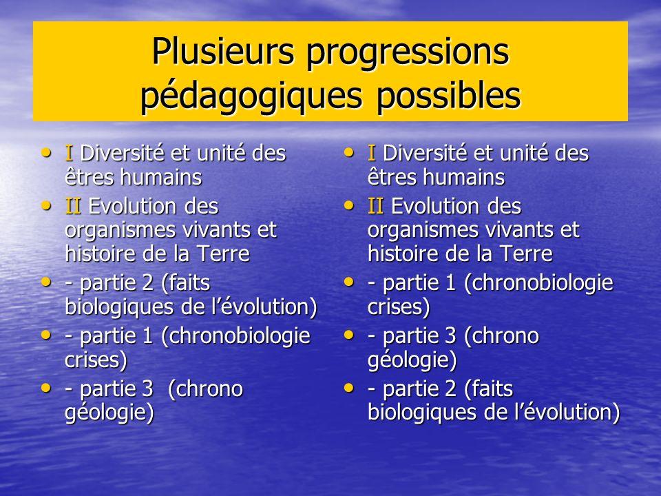 Plusieurs progressions pédagogiques possibles