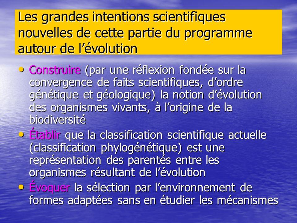 Les grandes intentions scientifiques nouvelles de cette partie du programme autour de l'évolution