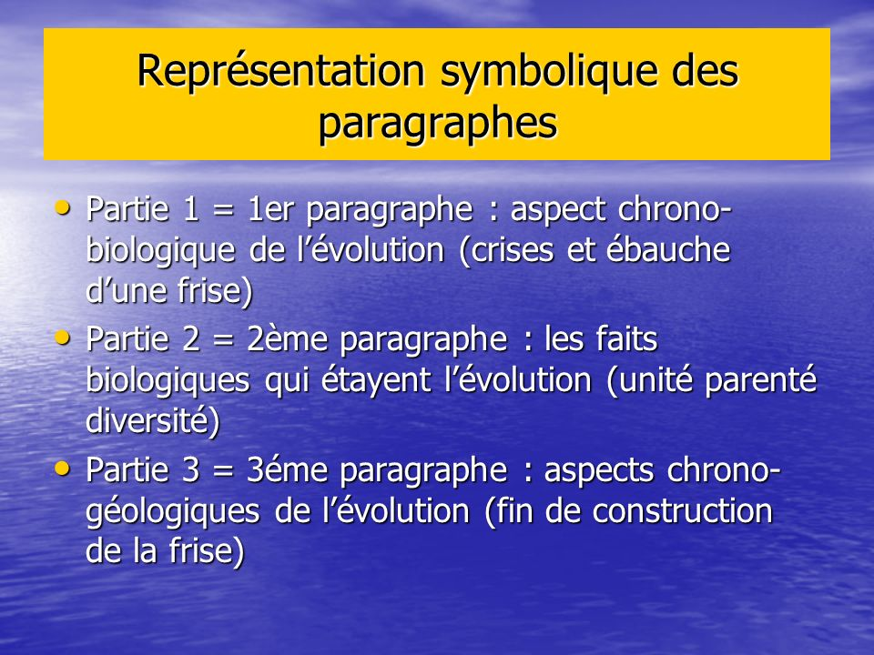 Représentation symbolique des paragraphes