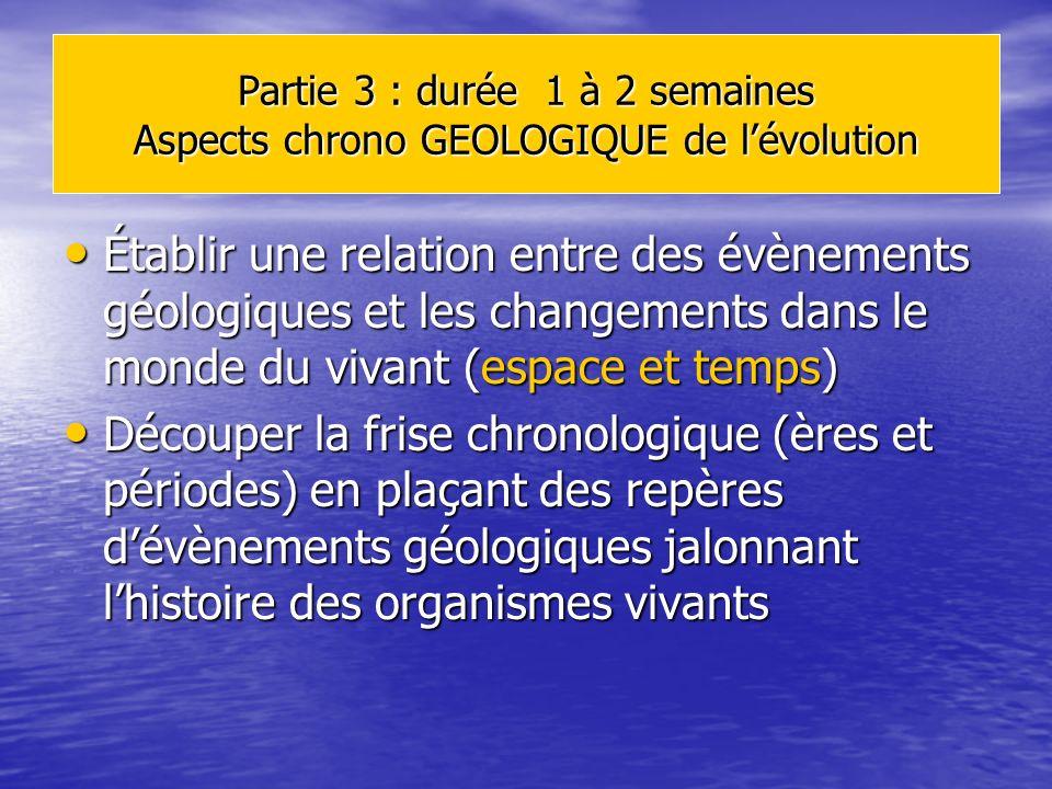 Partie 3 : durée 1 à 2 semaines Aspects chrono GEOLOGIQUE de l'évolution