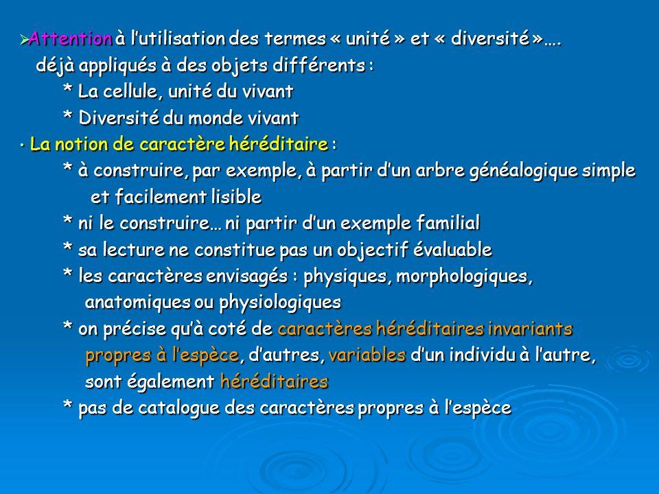 Attention à l'utilisation des termes « unité » et « diversité »….