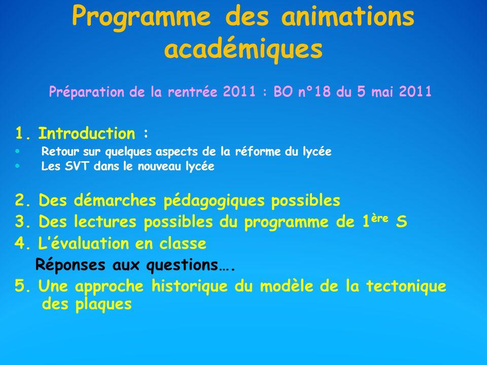 Programme des animations académiques