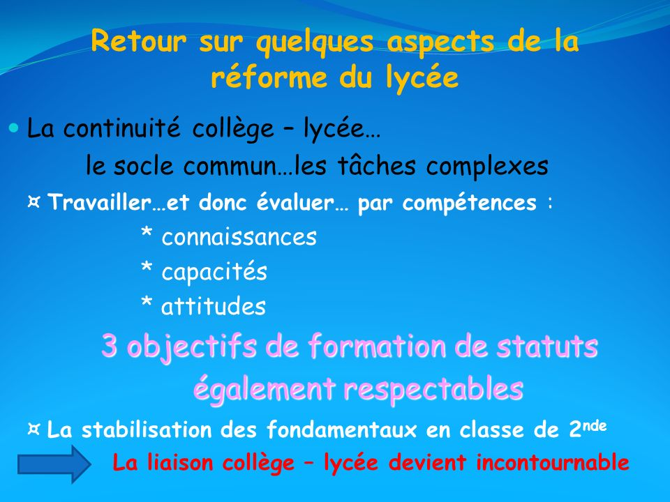 Retour sur quelques aspects de la réforme du lycée