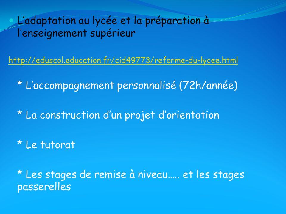 L'adaptation au lycée et la préparation à l'enseignement supérieur