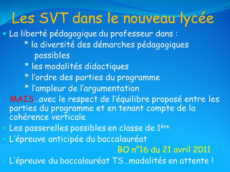 Les SVT dans le nouveau lycée