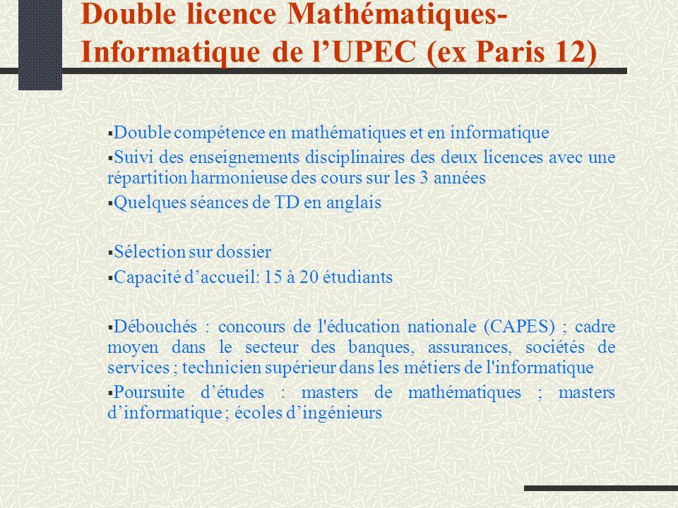Double licence Mathématiques-Informatique de l'UPEC (ex Paris 12)