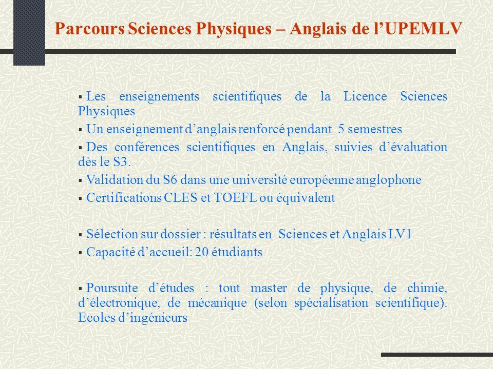 Parcours Sciences Physiques – Anglais de l'UPEMLV