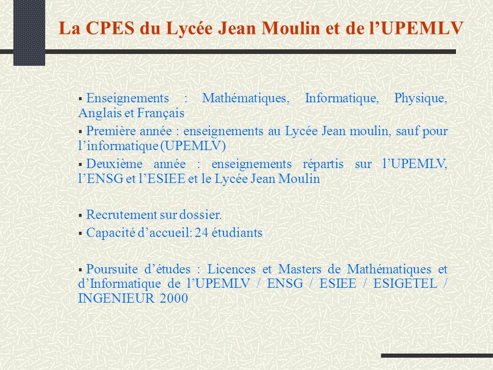 La CPES du Lycée Jean Moulin et de l'UPEMLV