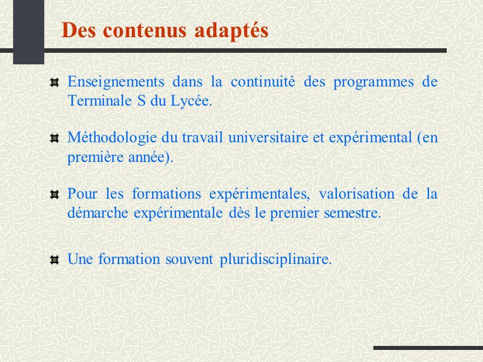 Des contenus adaptés Enseignements dans la continuité des programmes de Terminale S du Lycée.