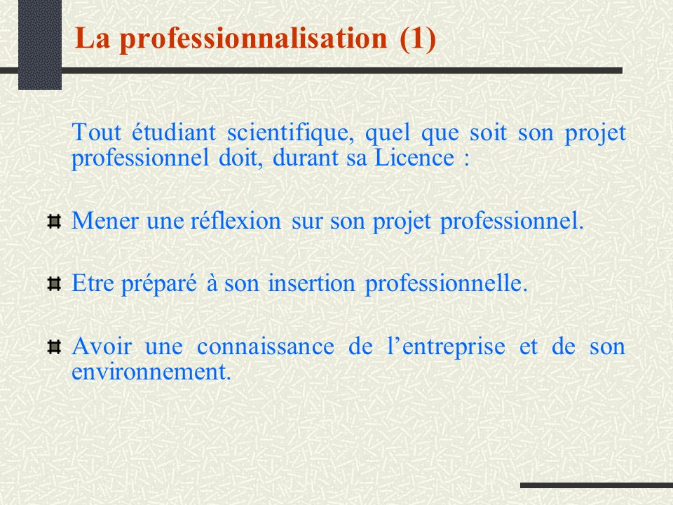 La professionnalisation (1)