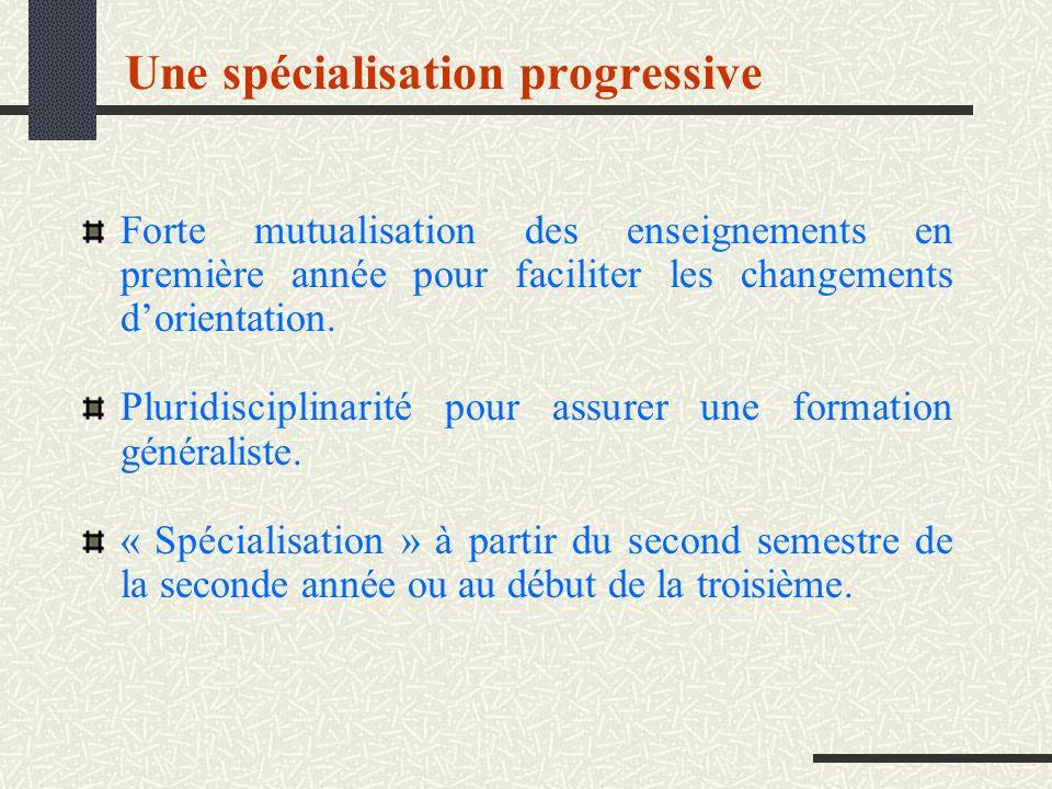 Une spécialisation progressive
