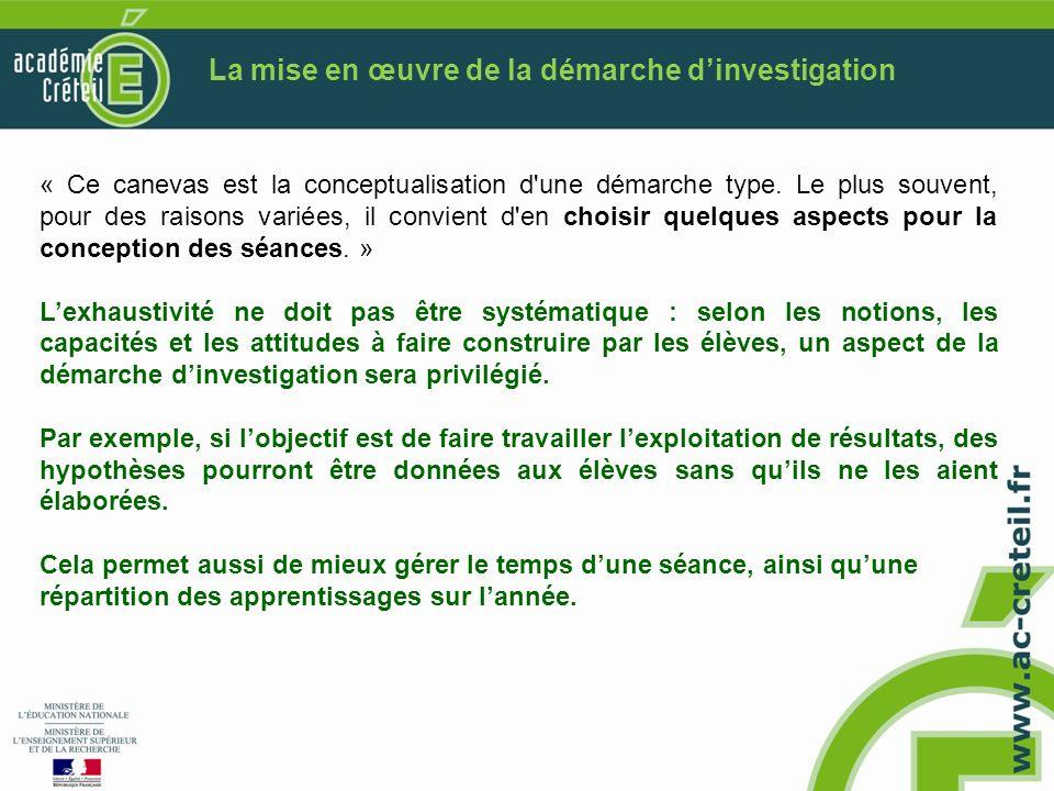 La mise en œuvre de la démarche d'investigation
