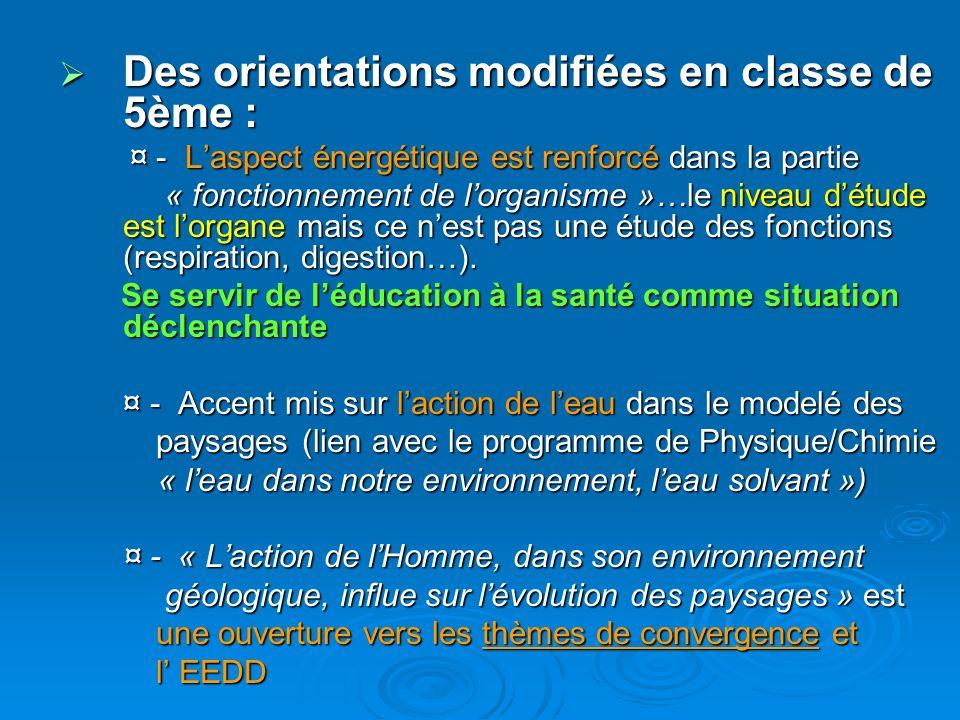Des orientations modifiées en classe de 5ème :