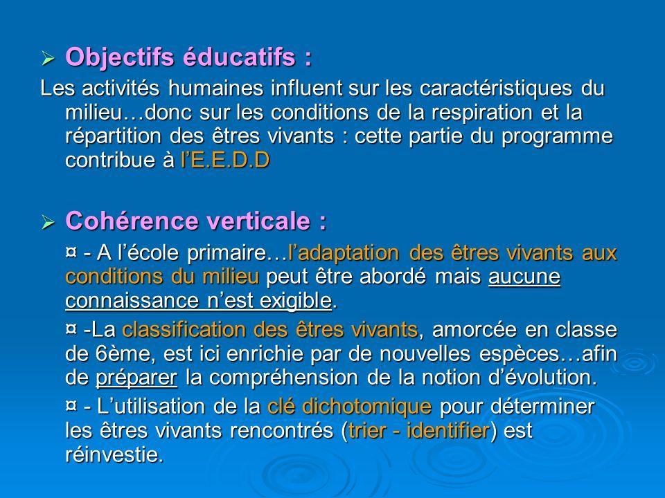 Objectifs éducatifs : Cohérence verticale :