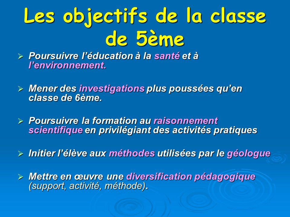 Les objectifs de la classe de 5ème