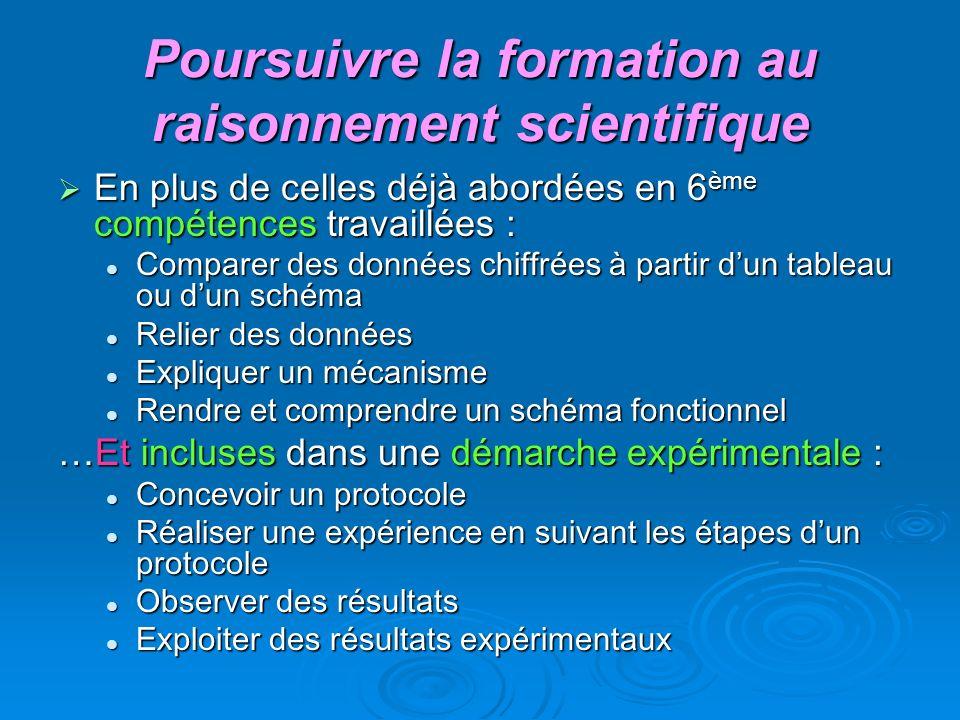 Poursuivre la formation au raisonnement scientifique