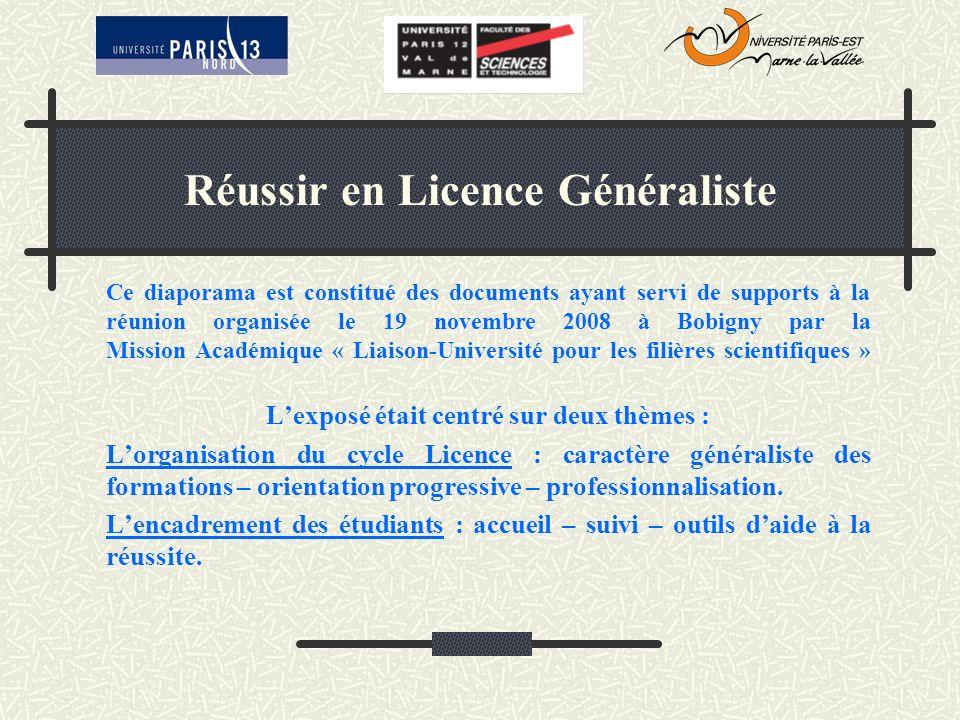 Réussir en Licence Généraliste