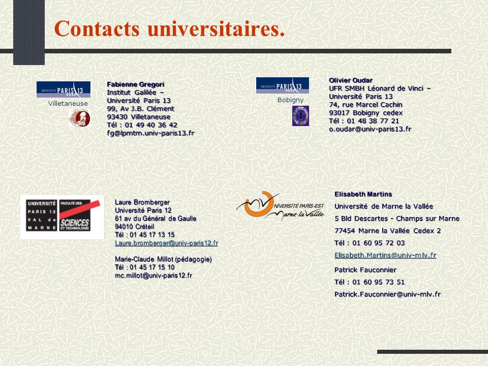 Contacts universitaires.