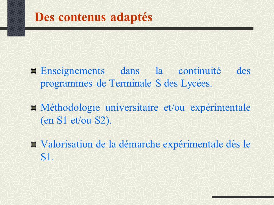 Des contenus adaptés Enseignements dans la continuité des programmes de Terminale S des Lycées.