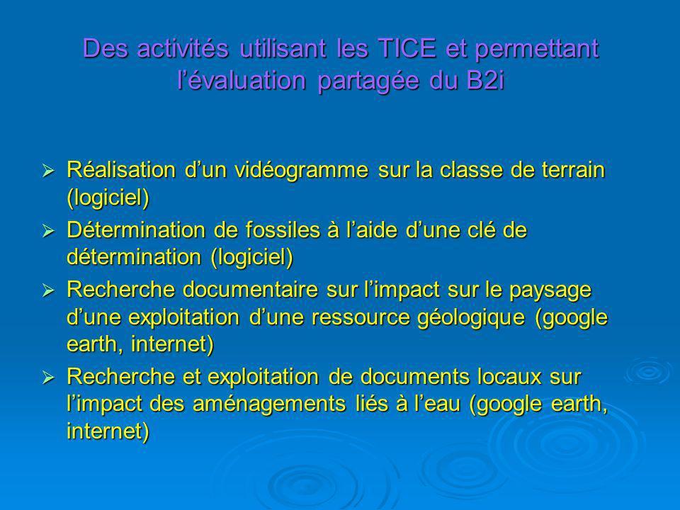 Des activités utilisant les TICE et permettant l'évaluation partagée du B2i