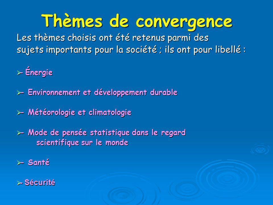 Thèmes de convergence Les thèmes choisis ont été retenus parmi des